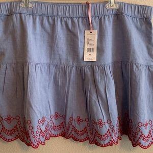 Embroidered flounce skirt XL NWT